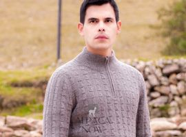 Joseph Zip Neck Alpaca Sweater