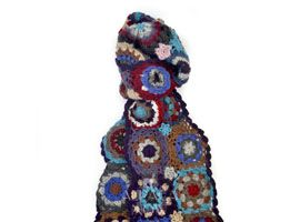 Crocheted Flowers Alpaca Scarf