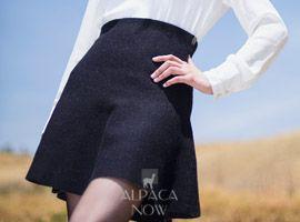 Reversible Baby Alpaca Flared Skirt